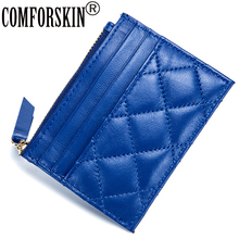 COMFORSKIN Brand Guaranteed 100% Sheep Skin Plaid Style New Arrivals European And American Card Wallets 2018 Coin Purses