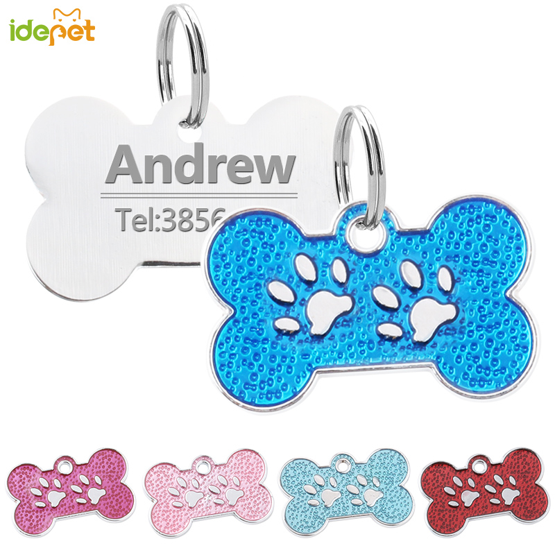 Personalized Dog Tags Engraved Cat Puppy Pet ID Name Collar Tag Pendant Stainless Steel Dog Tag Pet Accessorie Paw Glitter 10c25