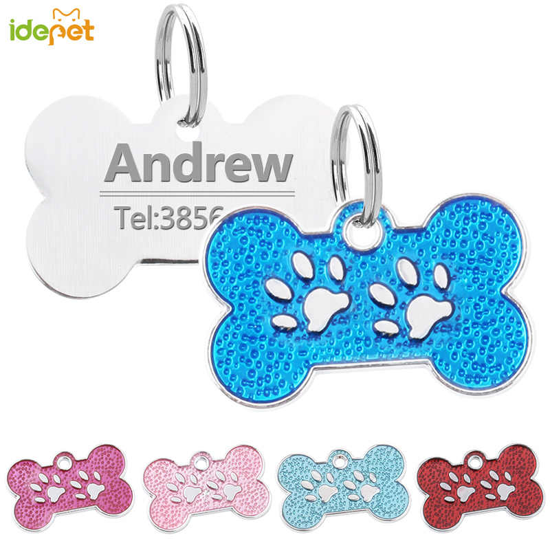 Gepersonaliseerde Dog Tags Gegraveerd Kat Puppy Pet ID Naam Kraag Tag Hanger Rvs Dog Tag Pet Accessorie Poot Glitter 10c25