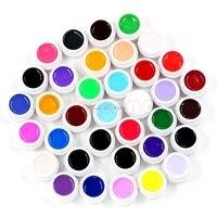 Nieuwe 36 stks Mix Kleuren Potten Tips Builder Cover UV Nail Art Gel Manicure Decor Set-B118