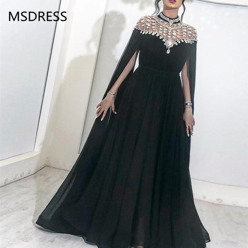 Sparkly Black   Evening     Dresses   2019 High Neck Caped Crystals Chiffon Dubai Kftan Saudi Arabic Long   Evening   Gown Prom   Dress