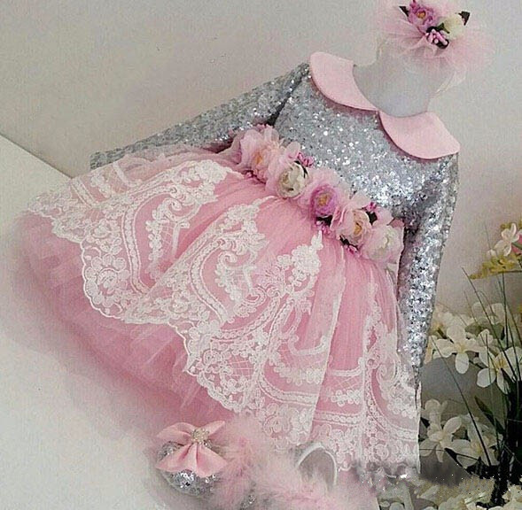 Shiny Sequins Long Sleeves Lace Appliques flower girl dresses with Bow baby Birthday Party Dress toddler girl dress цена