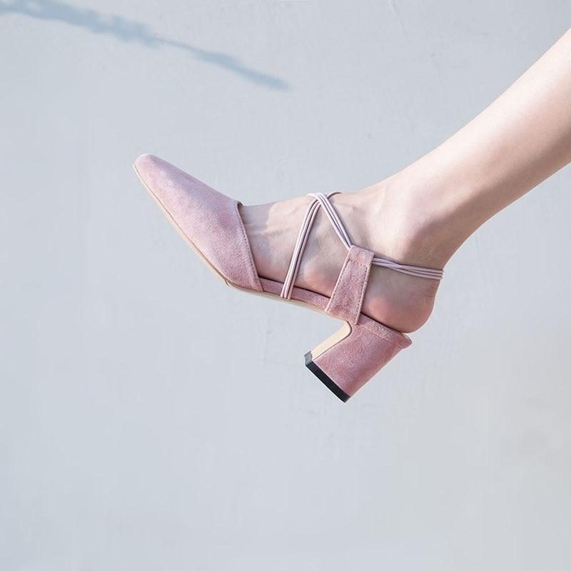 Bout Chaussures Kid Noir 2018 Hauts Nouvelle Talons Carrés Arrivée Suede rose Noir Femme Carré Femmes Rose Sandales 4f1OYwOq