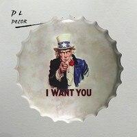 DL-I want you Bottle Caps Metal Wall Art Plaque Vintage Garage Hotel Pub Painting Decor