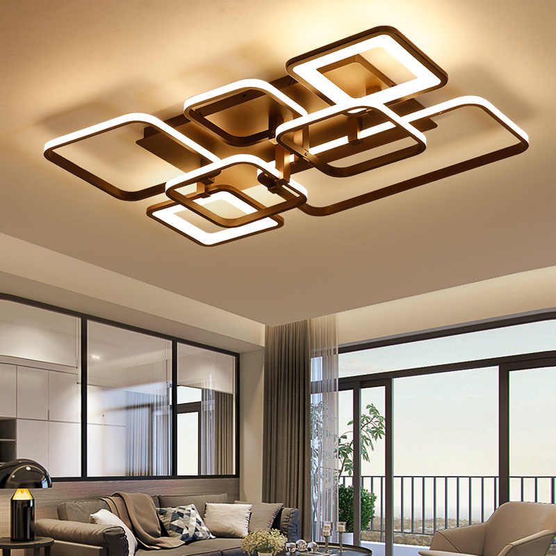 NEO Gleam Rectangle Modern led Chandelier For Living room Bedroom study room white/coffee finished home deco ceiling chandelier