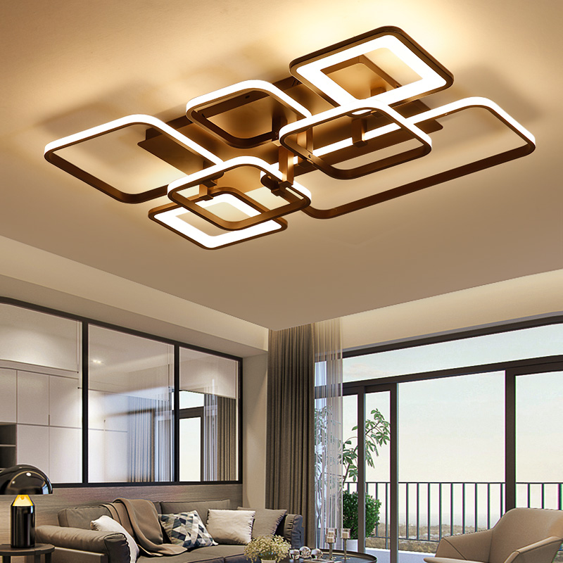 NEO Gleam Rectangle Modern led Chandelier For Living room Bedroom study room white coffee finished home deco ceiling chandelier in Chandeliers from Lights Lighting