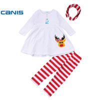 CANIS 2017 Kid baby girl clothes Christmas T-shirt Dress+Pants Carry Headband Set 1-6Years