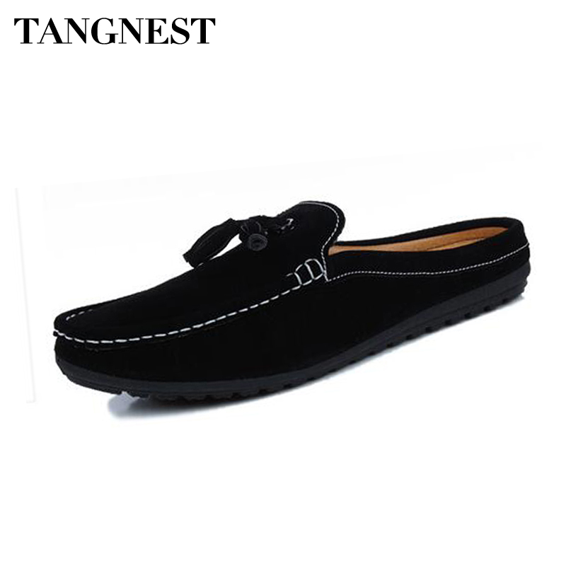 Tangnest NEW Suede Leather Loafers Men Fashion Tassle Flat Shoes Summer Men Driving Shoes Casual Slippers Moccasins XMR2790 clax men fashion shoes summer autumn british style loafers for men velvet flat driving shoes moccasins suede leather casual shoe