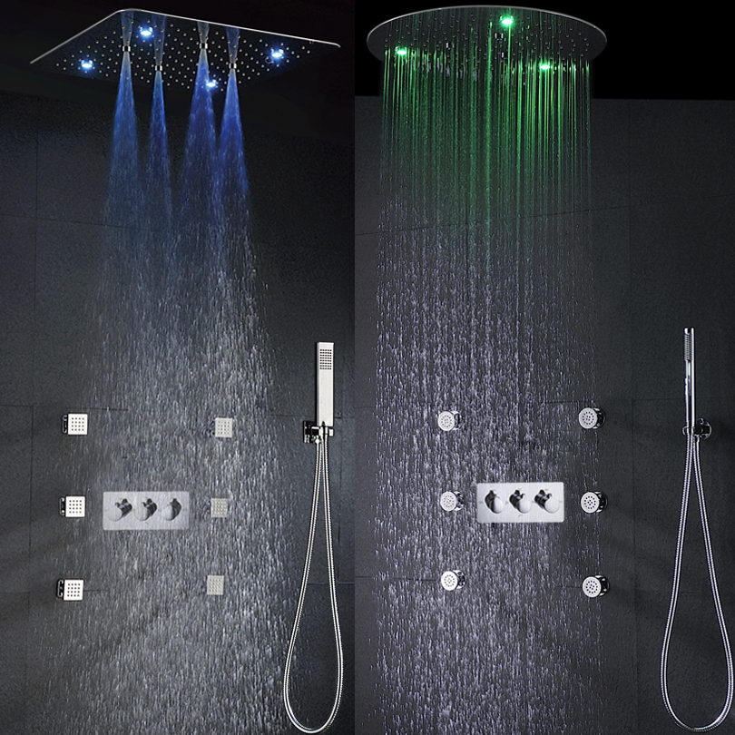 Rain Shower Faucet Set Hot And Cold Bath & Shower System 20 Inch 100V~240V AC LED Shower Head Bathroom Mixer Panel