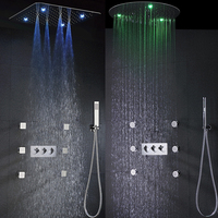 Rain Shower Faucet Set Hot And Cold Bath & Shower System 20 Inch 100V~240V AC LED Shower Head Bathroom Mixer Panel