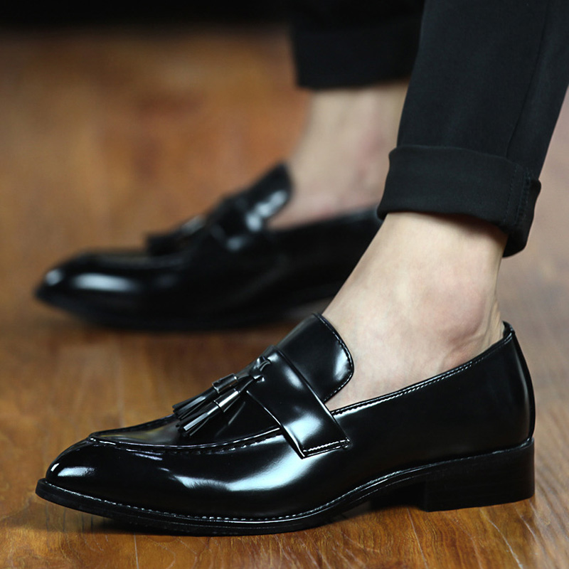 designer man tassel mens shoes brown luxury brand loafer ballet flats pointed toe male footwear 2019 oxford dress shoes for men