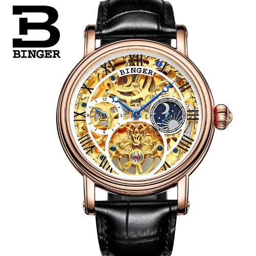 Switzerland Binger Original Mechanical Mens Watches Top Brand Luxury Steel Automatic watch men Waterproof sapphire wristwatches 2017 switzerland automatic mechanical men watch sapphire stainless steel relogio waterproof mens watches top brand luxury b5005