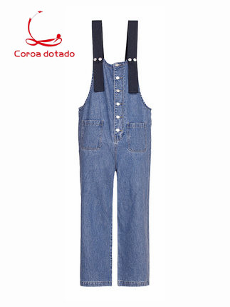 Spring new style retro single-breasted wide-leg jumpsuit with age-reducing overalls denim trousers overalls women