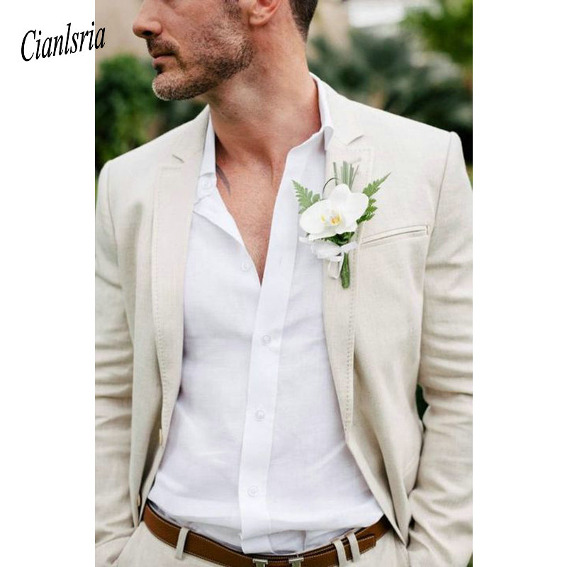 Summer Beach Champagne Linen Suit 2019 New Slim Fit Blazer Casual Wedding Suits Custom 2 Piece Suit Terno Masclino