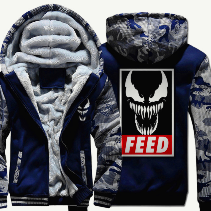 Men's Winter Thick Jacket Spiderman Venom Camouflage Men Coat Hooded Sweatshirt With Polyster Villus Lining