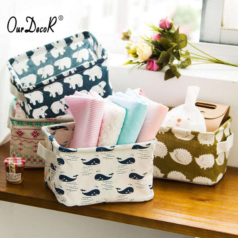 10 Pcs/lot Foldable Cotton Linen Desktop Organizer Basket Organizer with Handle Sundries Makeup For Toys Dirty Cloth Bathroom