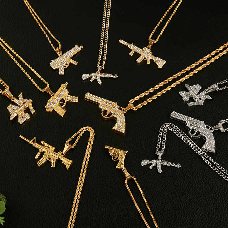 2019 Personalized Alloy AK47 Gun Pendant Necklaces Iced Out Rhinestone Long Chain Silver Gold Necklace Women Men Hip Hop Jewelry