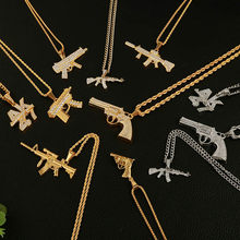 2019 Personalized Alloy AK47 Gun Pendant Necklaces Iced Out Rhinestone Long Chain Silver Gold Necklace Women Men Hip Hop Jewelry(China)