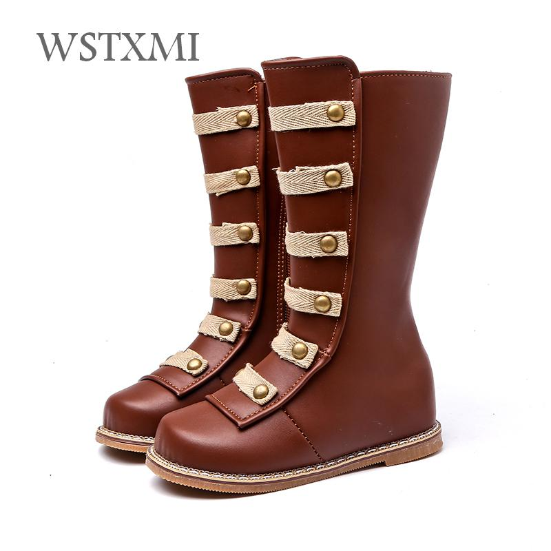 618ee6f82 Autumn Winter Baby Girls Leather Boots for Plush Children Shoes Mid-calf  Fashion Rome Boots Waterproof Toddler Kids Rubber Boots