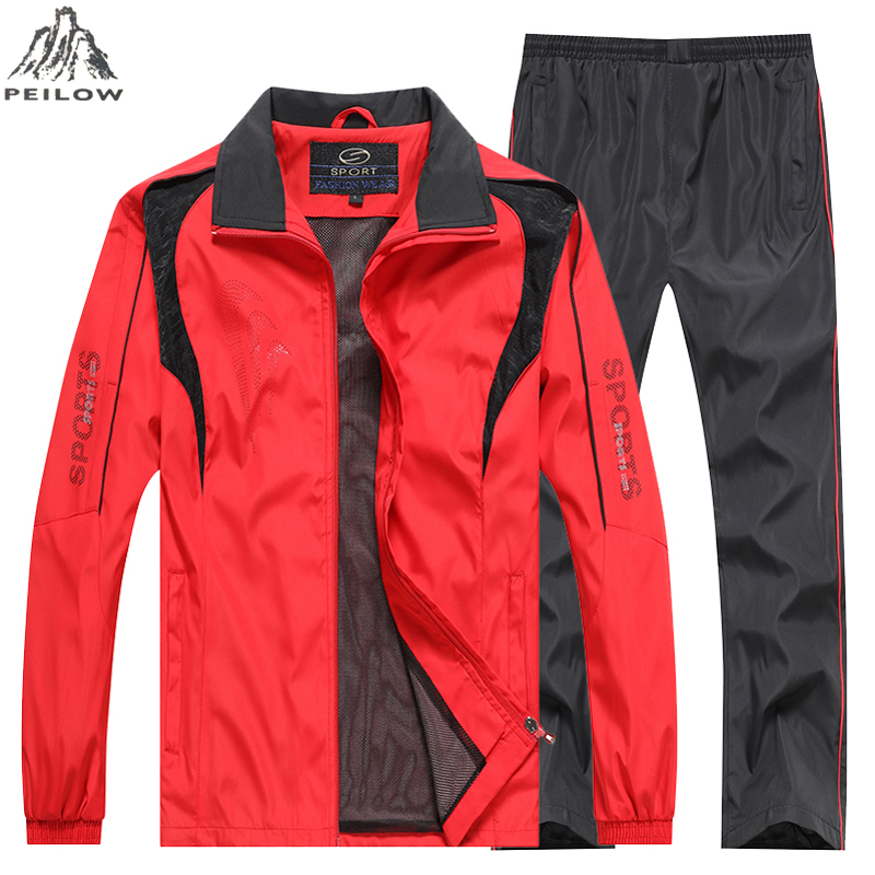 4XL 5XL Men Tracksuits Gyms Set 2019 Men's Sportswear Spring Autumn Sweatsuit Two PCS Jacket+Pants Sets Casual Track Suit Men