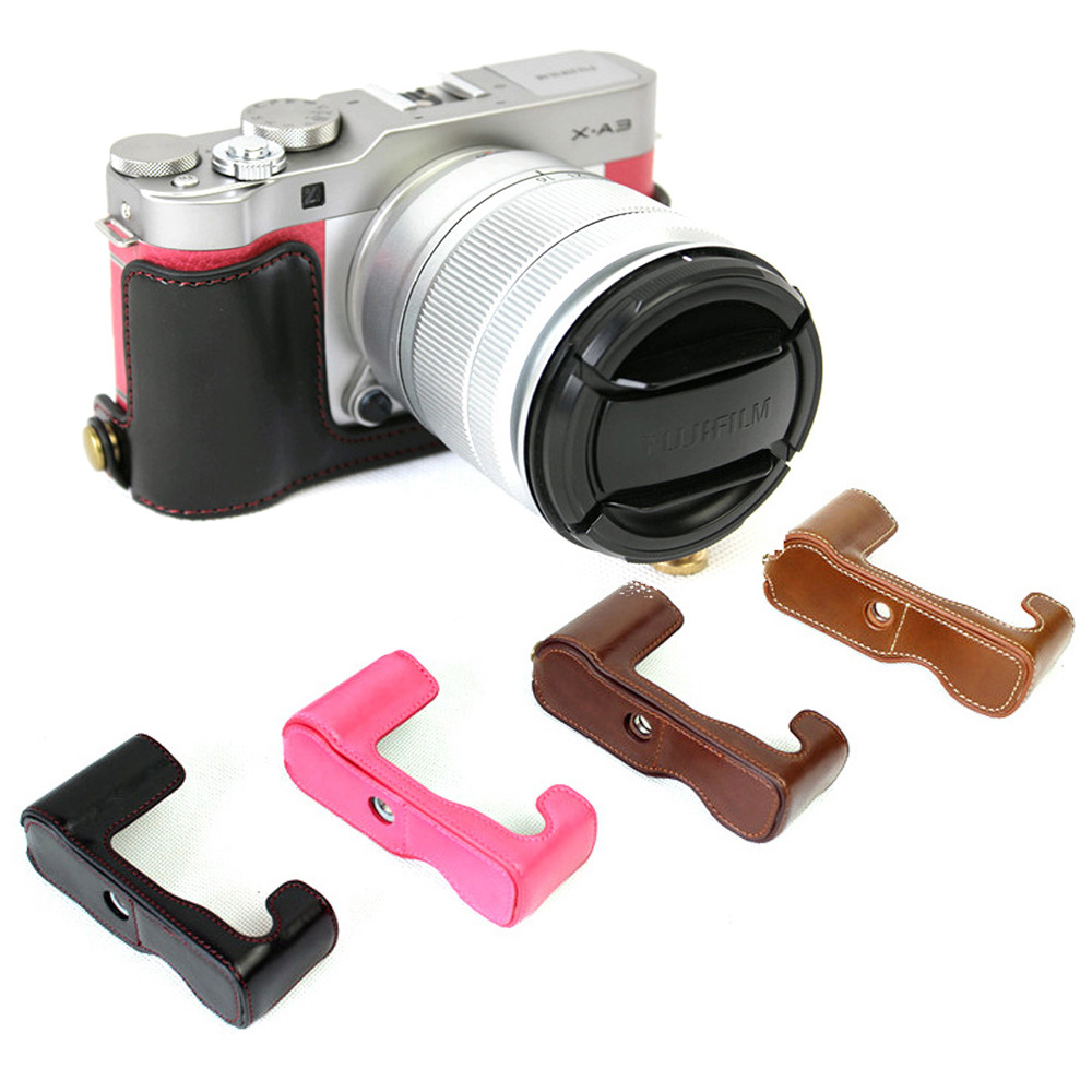 PU Leather Cover Case For Fuji FujiFilm X-A3 XA3 Camera Bag Bottom Case Half Body Set Cover With Bottom Battery Opening