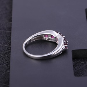 Image 4 - GEMS BALLET Solid 1.84Ct Natural Rhodolite Garnet Ring 925 Sterling Sliver Wedding Band Simple Rings For Women Fine Jewelry