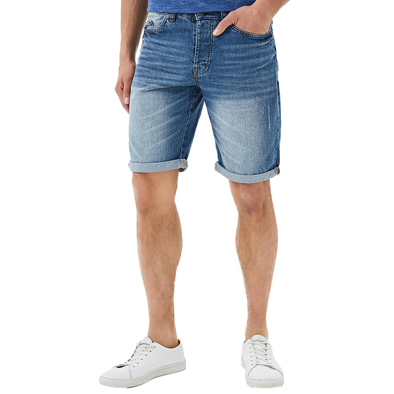 Casual Shorts MODIS M181D00259 men cotton shorts for male TmallFS casual summer ripped straight legs zip fly denim shorts for men