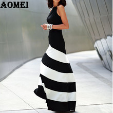 Women Black White Wide Stripe Maxi Long Dress Halter Cross Strap Backless Elegant Lady Party Night Dresses Robes Female Fashion(China)