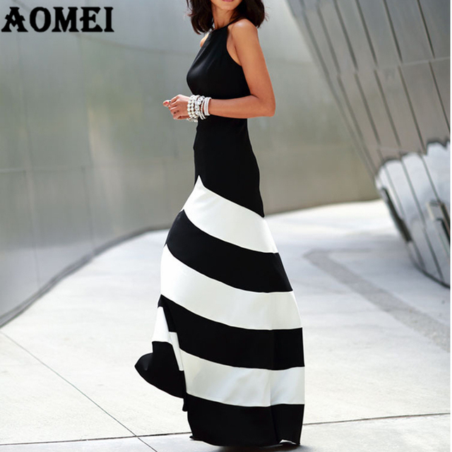 083fe1f3a7 Women Black White Wide Stripe Maxi Long Dress Halter Cross Strap Backless  Elegant Lady Party Night Dresses Robes Female Fashion
