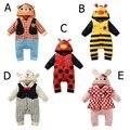 5 animal do Estilo Dos Desenhos Animados roupa do bebê recém-nascido da menina do menino roupas de manga longa romper do bebê escalada roupas roupas de recém-nascidos definir H623