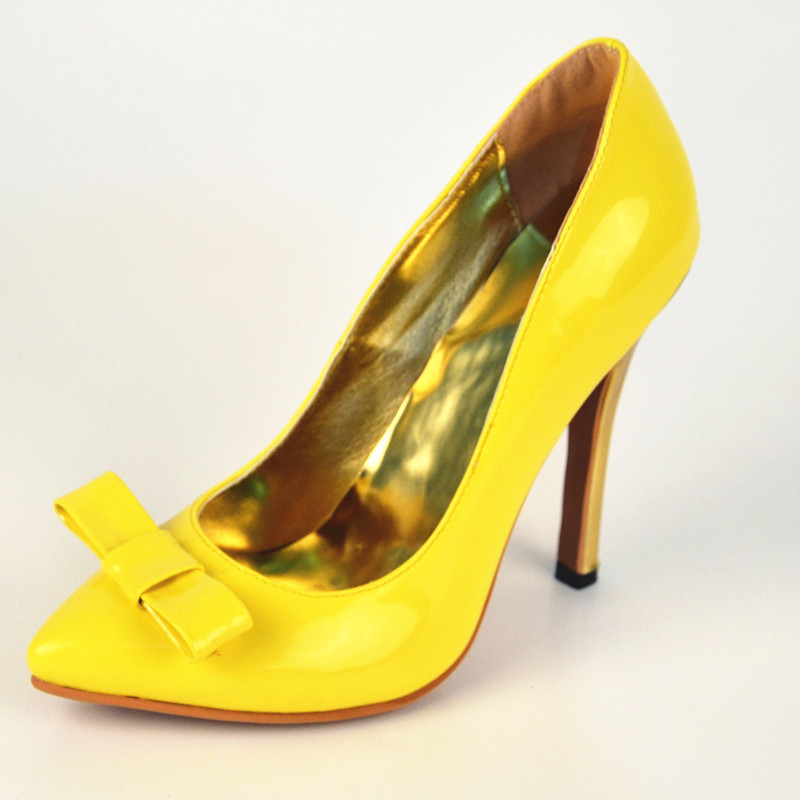 Yellow Heels With Bow | Fs Heel