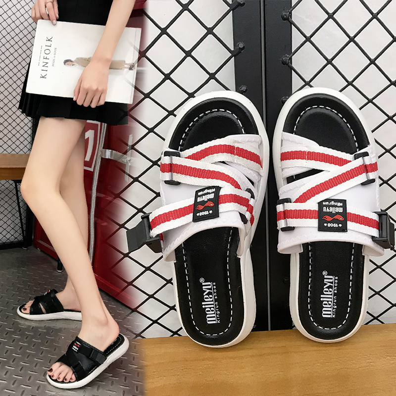 HKCP Lovers of cool slippers summer 2019 outside wearing fashion with a flat Korean version of versatile beach shoes C008 in Slippers from Shoes