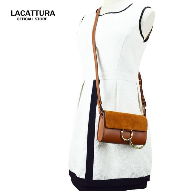 US $32.8 |A1352 2017 LACATTURA Merken tassen luxe real lederen handtassen beroemde suède tas hasp metalen ring crossbody voor vrouwen in A1352 2017