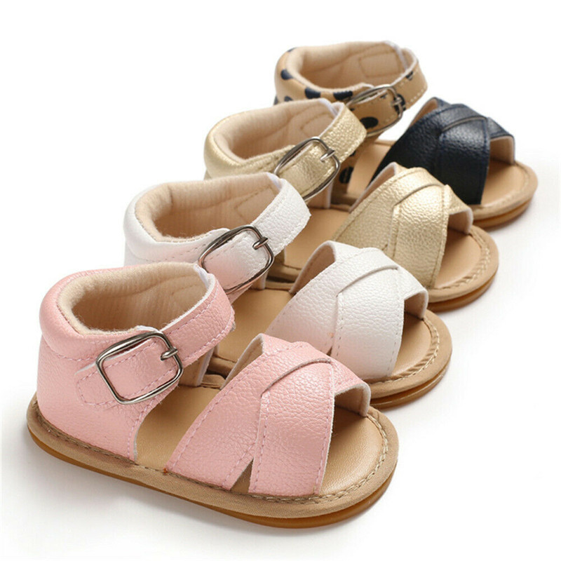 2019 Cute Newborn Infant Baby Girls Boys Sandals Summer PU Leather Shoes Breathable Prewalker Non-slip Shoes New Shoes 0 To 18M