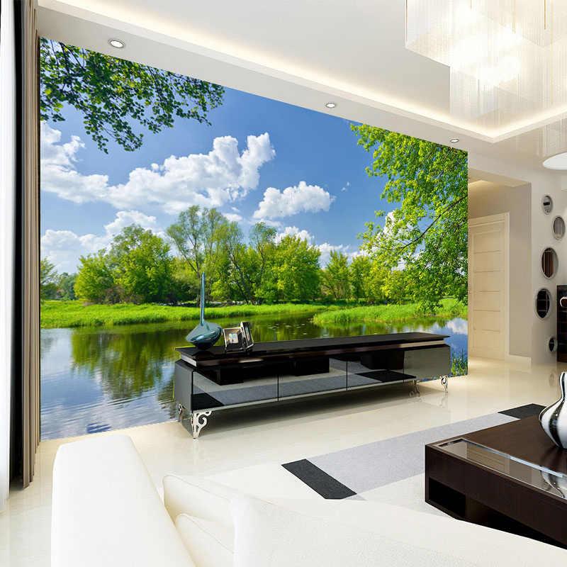 مخصص جداريات طلاء جدران 3D السماء الزرقاء والسحب البيضاء طبيعة مشهد ورق حائط لغرف النوم الجدران غير خلفية قماش جدار 3D