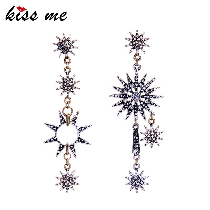 KISS ME Asymmetric Rhinestone Stars Earrings New Design Long Drop Earrings for Women Luxury Jewelry mask design drop earrings