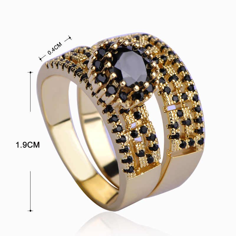Dazz יוקרה זירקון נחושת תכשיטי סטי כיכר Stud עגילים & רחב טבעת עבור נשים Orecchini Aros זהב צבע חתונה שחור joyas