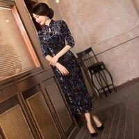 Cổ điển Ladies Velour Sườn Xám Dài Bán Hot Truyền Thống Cái Yếm Trung Quốc ăn mặc Mujer Vestido Quần Áo Size Sml XL XXL 368560
