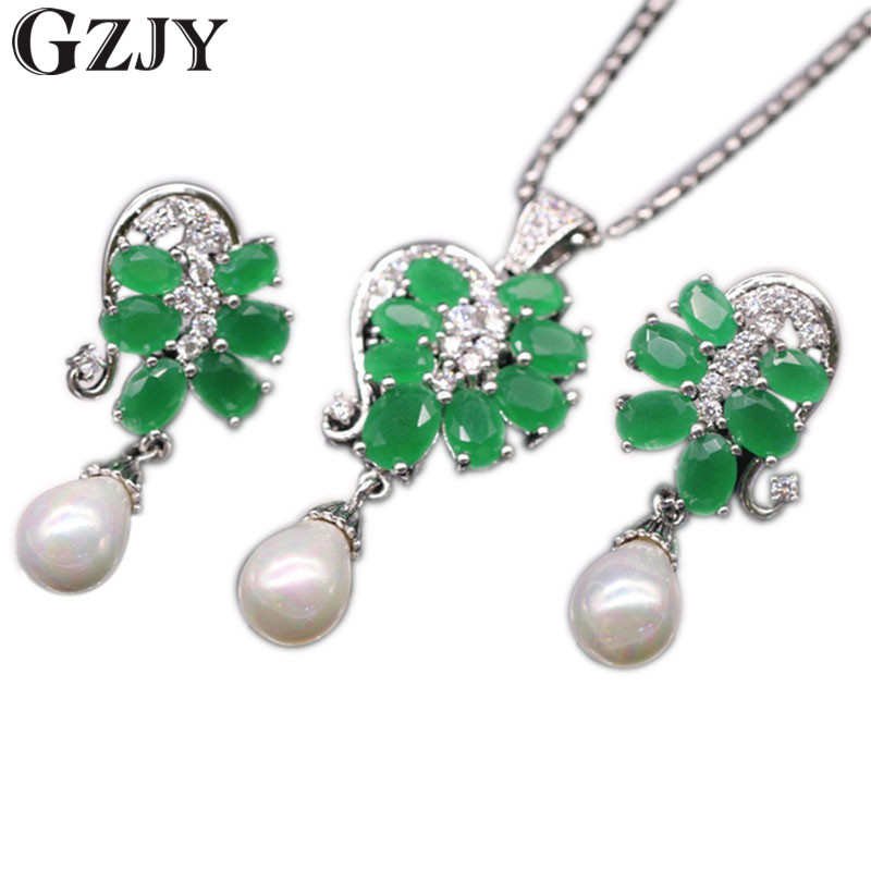 GZJY Exquisite Jewelry Set Gold Color Green Zircon Natural Pearl Pendant Necklace Earrings Set For Women I13-1 women s elegant pendant necklace ring w zircon ornament set golden green