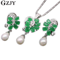 Exquisite Jewelry Set 18k Gold Platinum Plated Green Emerald Natural Pearl Pendant Necklace Earrings Set