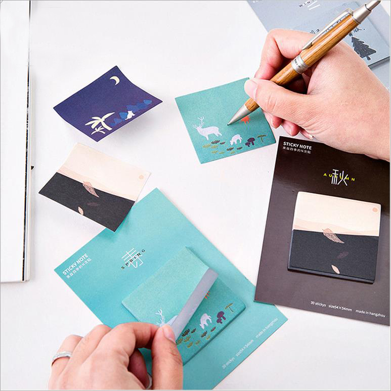 20pcs/lot Kawaii Four Seasons Nature Self-Adhesive Post It Memo Pad Sticky Notes Bookmark School Office Supply Stationery 01885