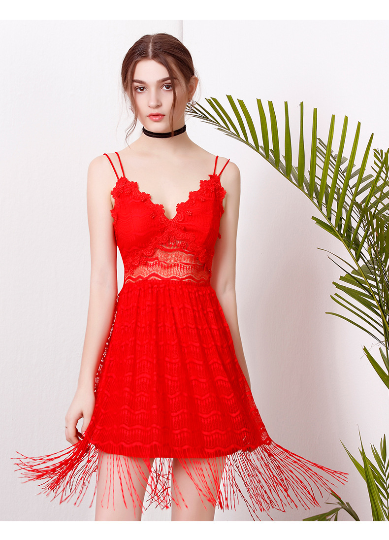 6ee8d2de6127 PETITE Fan Camisole Dress Women All Over Lace Tassel Border Hollow Out  Plunge Slip Dress Bodycon Wrap Dress Vestido De Renda-in Dresses from  Women's ...