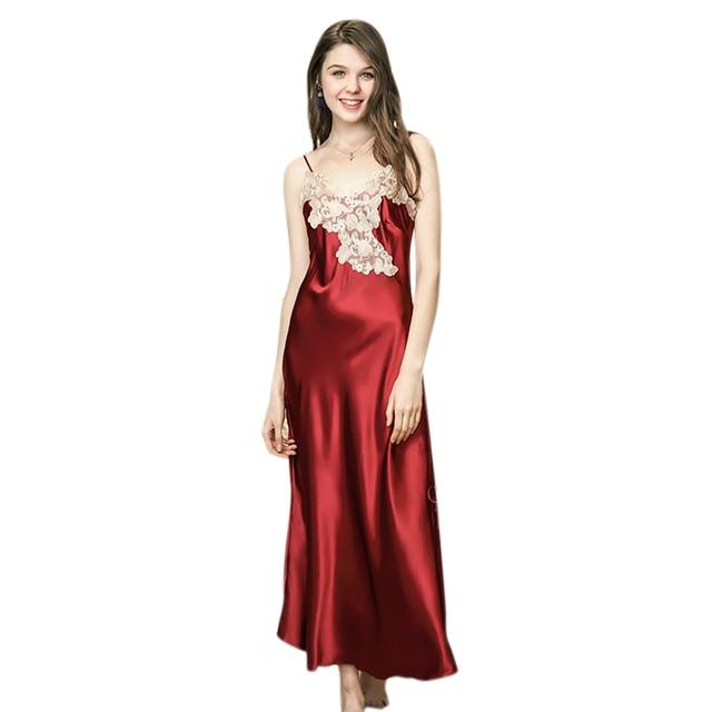 81956435b6ec Women Sexy Lingerie Nightdress Plus Size Lace Nightgown Nightie V-Neck Silk  Satin Long Nightdress Flower Sleeveless Nightwear