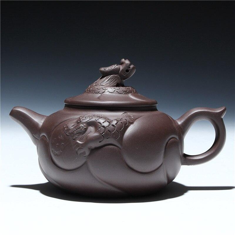 Поставка Исин фиолетовый чайник глины руды Большой дракон рыбы горшок 400 мл чайник смешанная партия