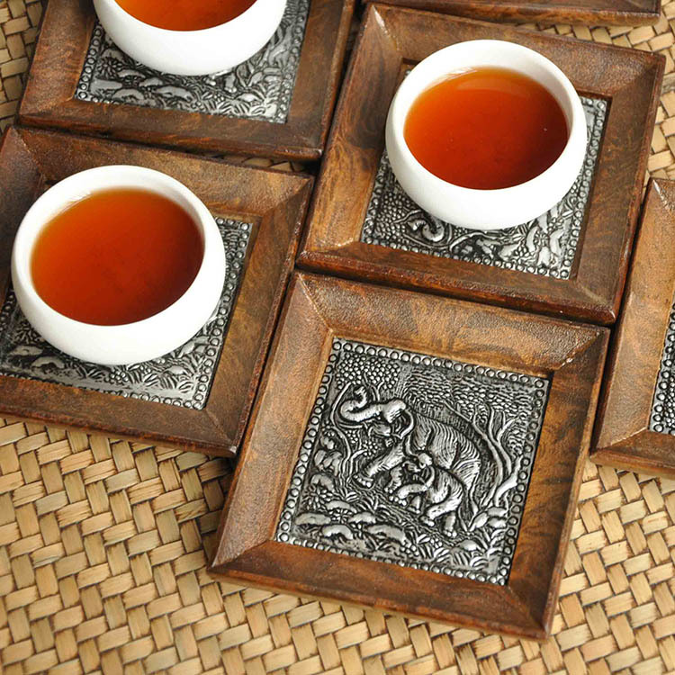 Thailand Southeast Asia home restaurant small elephant tin table mat coasters wholesale six sets of small coasters