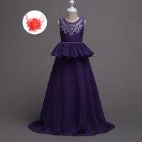 Adolescent Fleur Fille Robes Taille 5 À 14 Ans Enfants soirée Longue Robe Marine Rouge Chaude Rose Prune Robe De Mariage fille