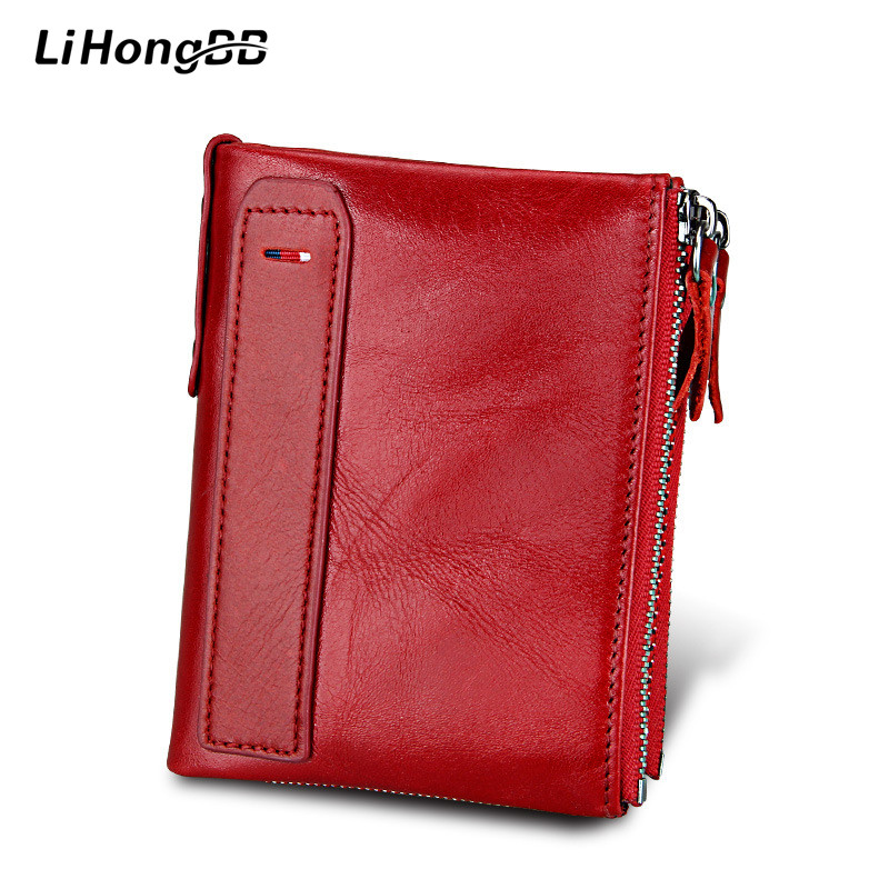 Genuine Leather Women Wallets Bifold Wallet Ladies Purses Lady Coin Pocket Red Wallet Female Clutch with zipper Womens Wallet simline fashion genuine leather real cowhide women lady short slim wallet wallets purse card holder zipper coin pocket ladies
