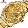 Часы NAVIFORCE мужские золотые  модные  повседневные  деловые