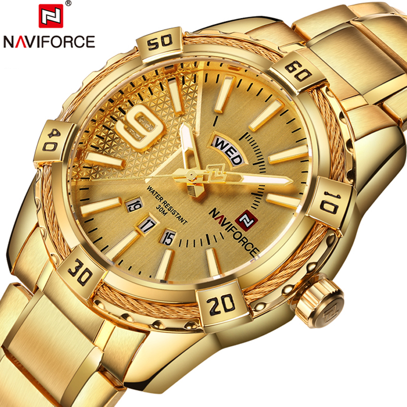 NAVIFORCE Top Luxury Brand Men Watches Golden Male Clock Date Week Wrist Watch Fashion Modern Casual Business Relogio Masculino