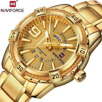 286c13b75d9b NAVIFORCE superior de la marca de lujo de los hombres relojes de oro reloj  Masculino Popular reloj de pulsera de moda moderna de negocios casuales  reloj ...